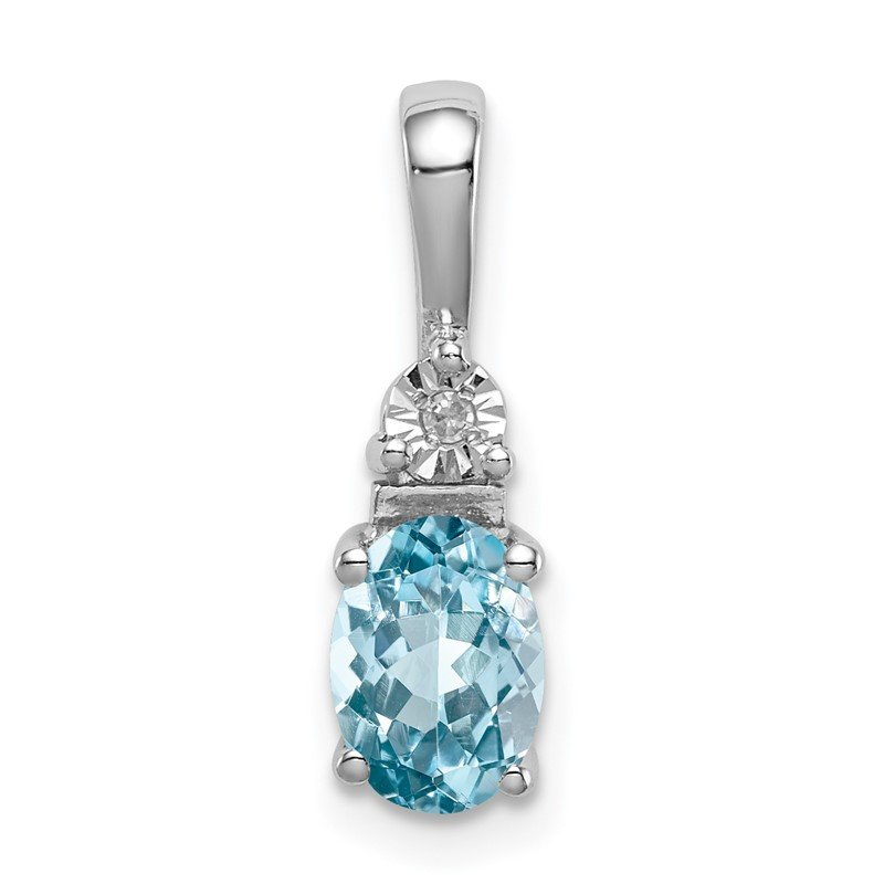 Quality Gold Sterling Silver Rhodium-plated Diamond & Light Blue Topaz Pendant