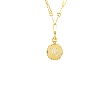 18K DIAMOND SCORPIO ZODIAC MEDALLION PENDANT W. COIN EDGE ON PAPER CLIP CHAIN
