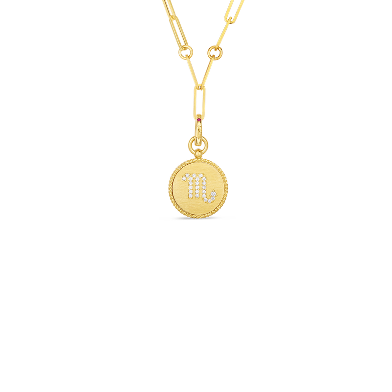 Roberto Coin 18K DIAMOND SCORPIO ZODIAC MEDALLION PENDANT W. COIN EDGE ON PAPER CLIP CHAIN