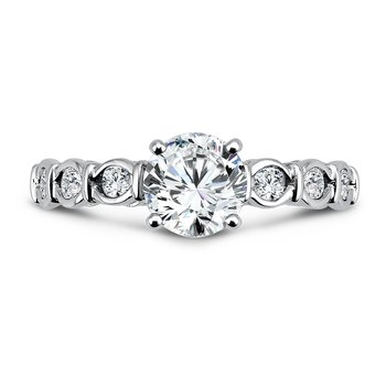 Modernistic Collection Engagement Ring With Side Stones in 14K White Gold with Platinum Head (1ct. tw.)