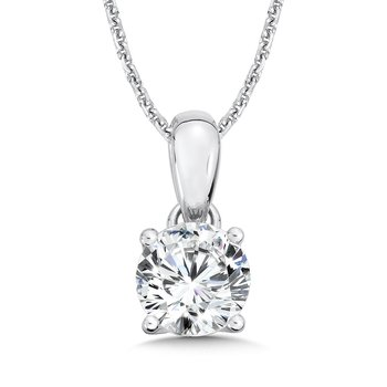 Round Diamond Solitaire Pendant in 14K White Gold (1-1/2 ct. tw.)