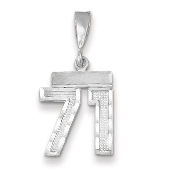 14k White Gold Small Diamond-cut Number 71 Charm