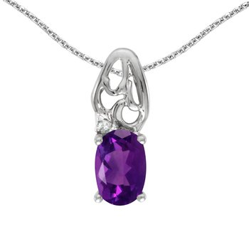 14k White Gold Oval Amethyst And Diamond Pendant