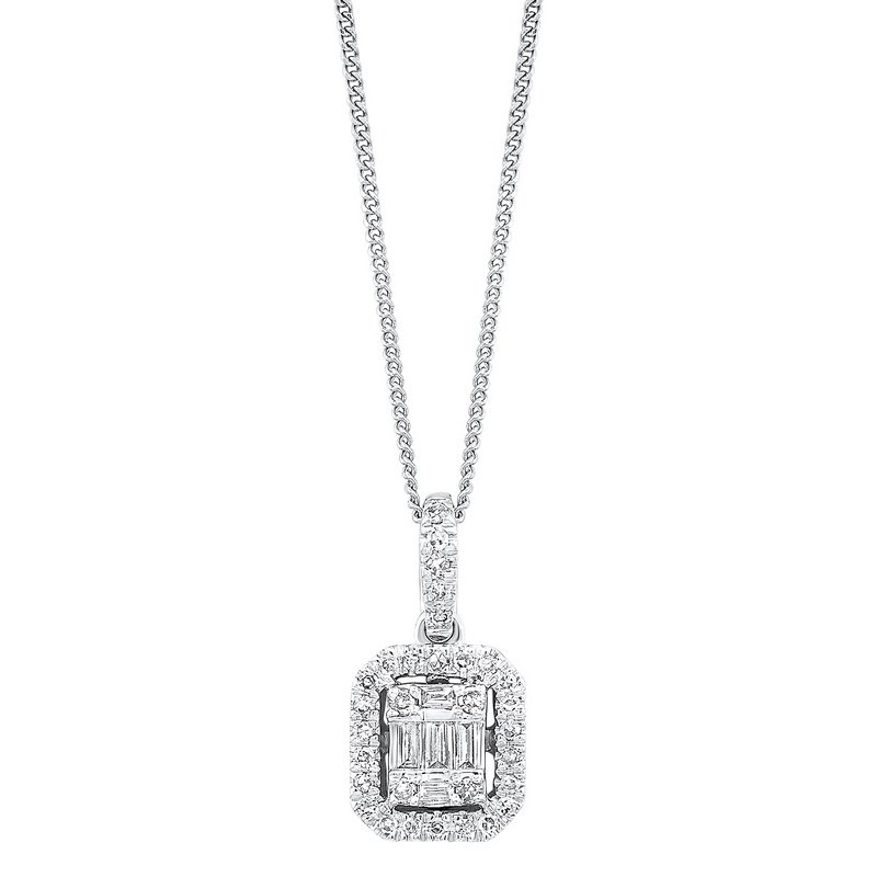 Gems One Diamond Rectangular Halo Drop Pendant Necklace in 14k White Gold (1/10ctw)