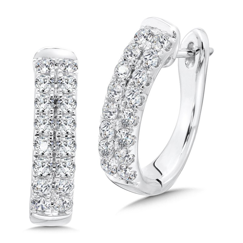 Double Row Prong set Diamond Oval Hoops in 14k White Gold (1.50 ct. tw.)