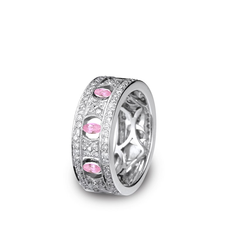 18K White Gold Pink Sapphire Diamond Wide Band
