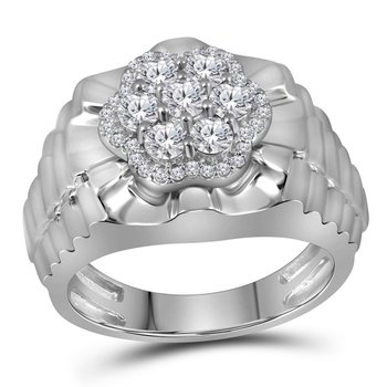10kt White Gold Mens Round Diamond Flower Cluster Ribbed Ring 1.00 Cttw