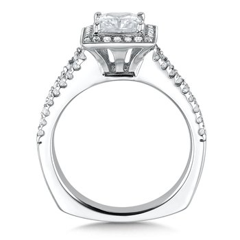 Square shape halo mounting  .41 ct. tw.,  1 ct. Princess cut center.