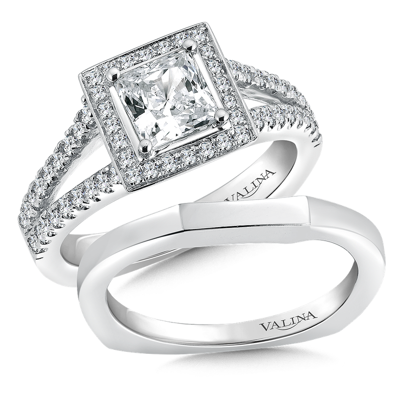 Valina Square shape halo mounting  .41 ct. tw.,  1 ct. Princess cut center.