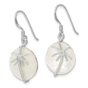Sterling Silver Rhodium-plated MOP Palm Tree Round Earrings