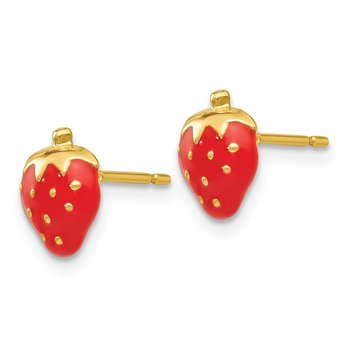 14k Enameled Strawberry Earrings