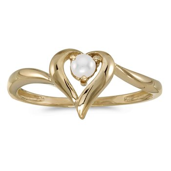 14k Yellow Gold Pearl Heart Ring