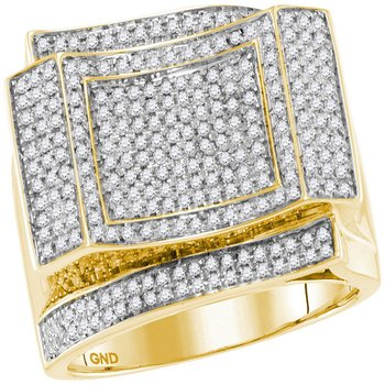 10kt Yellow Gold Mens Round Diamond Square Cluster Contoured Ring 7/8 Cttw