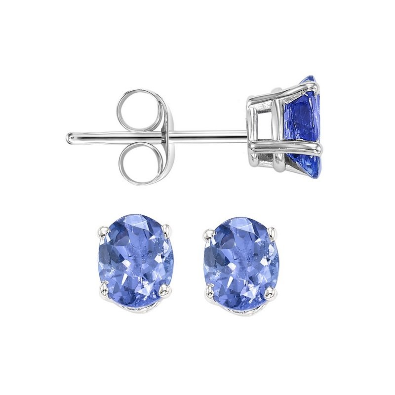 Gems One Oval Prong Set Tanzanite Stud Earrings in 14K White Gold