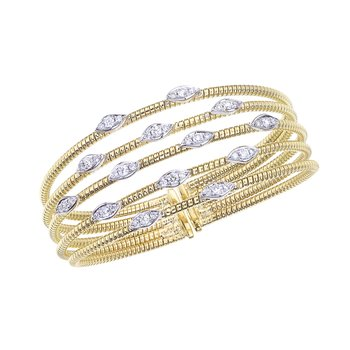 Two-Tone 5 Row Twisted Bangle with Diamond Stations
