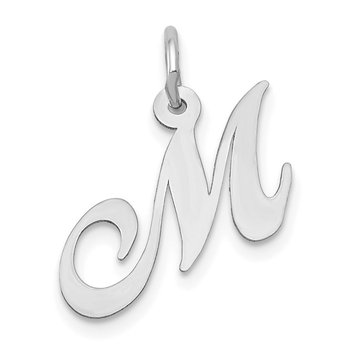 14k White Gold Small Fancy Script Letter M Initial Charm