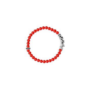 6Mm Red Coral Bead Bracelet W/ Skull Bridge (28 Beads)