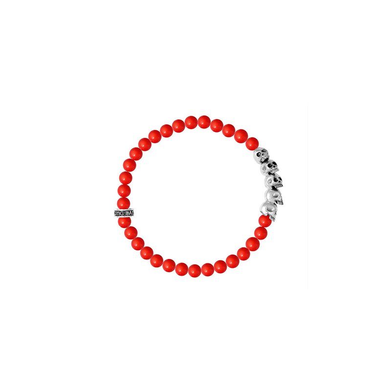 King Baby 6Mm Red Coral Bead Bracelet W/ Skull Bridge (28 Beads)