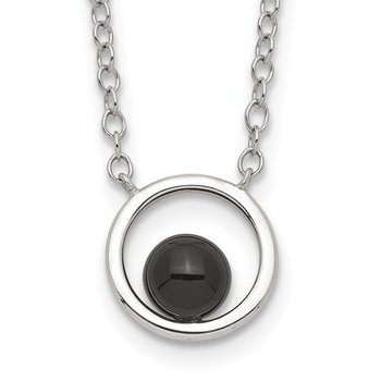 Sterling Silver Circle with Black Onyx Circle Necklace