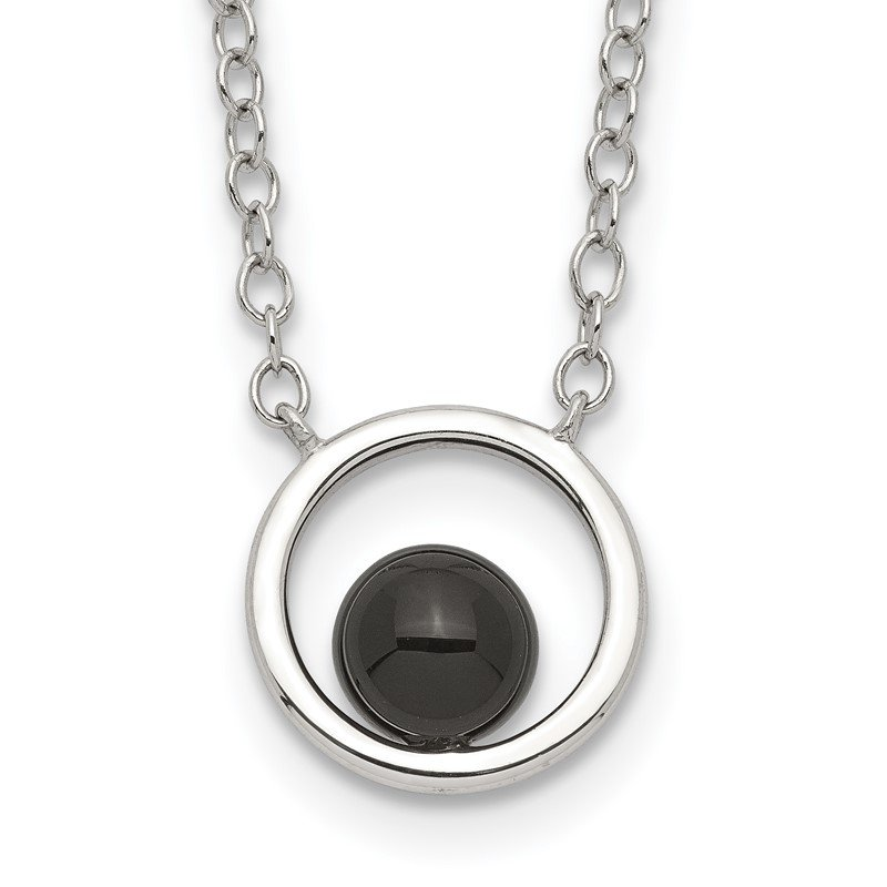 Quality Gold Sterling Silver Circle with Black Onyx Circle Necklace
