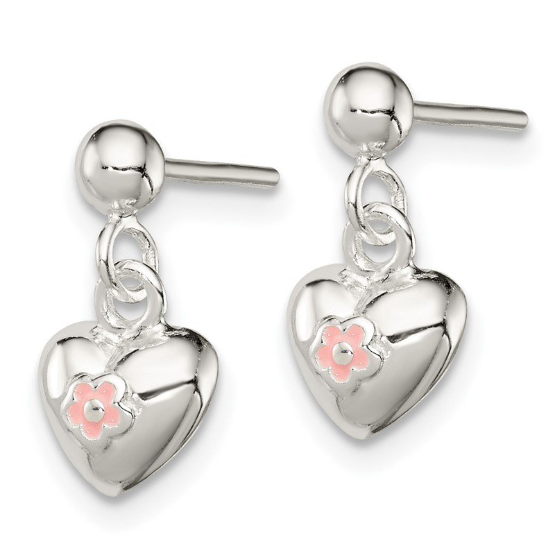Quality Gold Sterling Silver Pink Enamel Kid's Heart Dangle Earrings