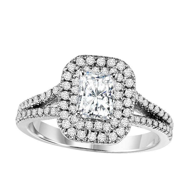 Bridal Bells 14K Diamond Engagement Ring With Accent Sapphires 5/8 gtw with 3/4 ct Radiant Center