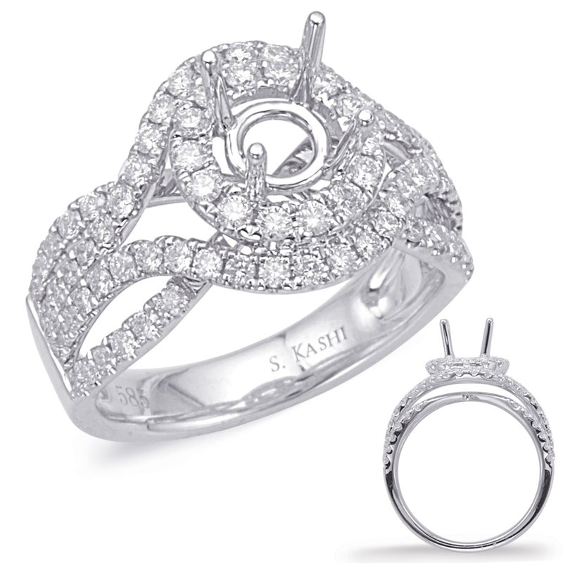 Briana White Gold Halo Engagement Ring