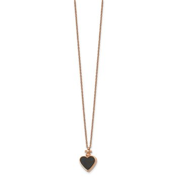 Stainless Steel Polished Rose IP w/MOP & Black Agate Reversible Heart Neckl