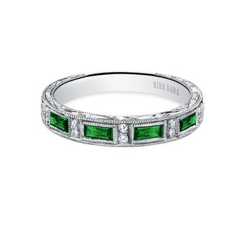 Tsavorite Milgrain Diamond Wedding Band