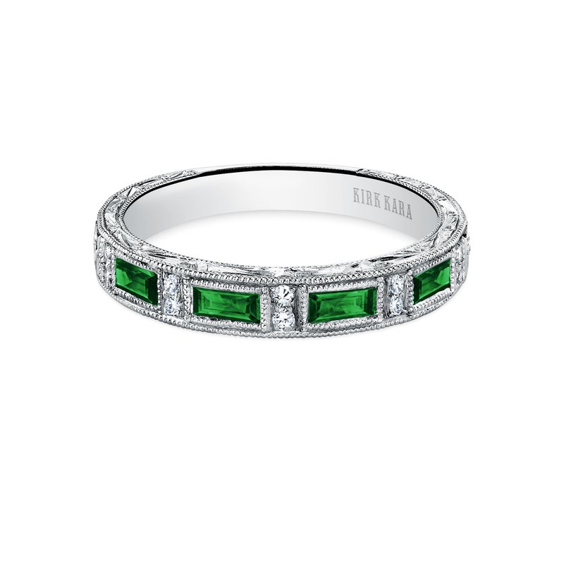 Kirk Kara Tsavorite Milgrain Diamond Wedding Band