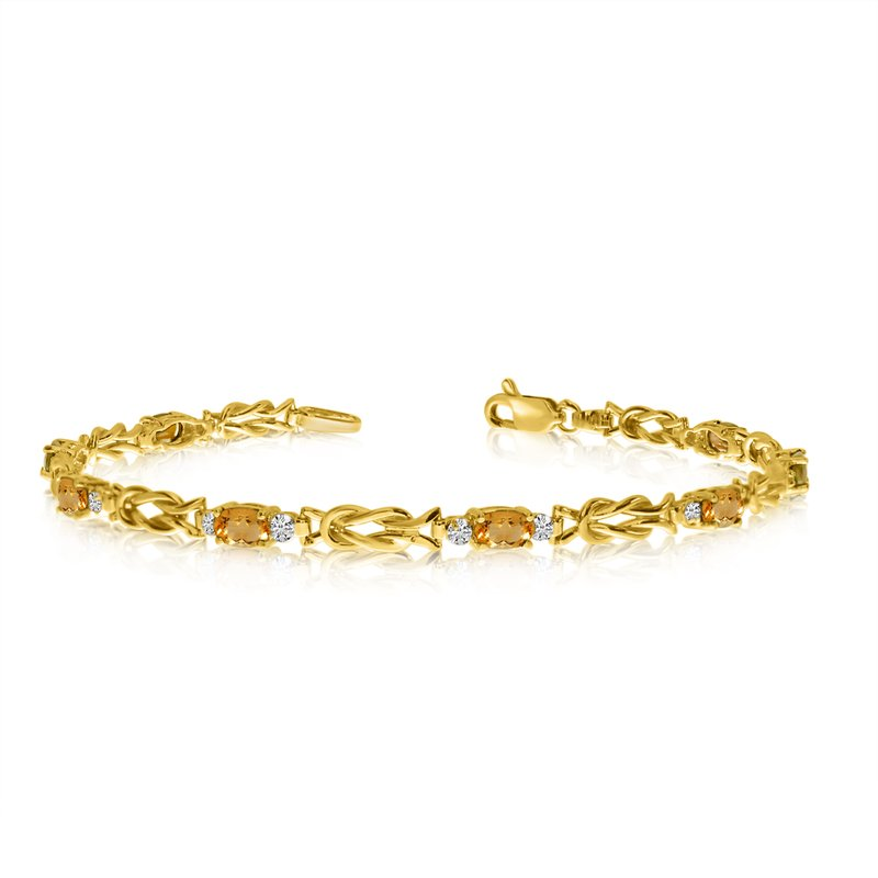 Color Merchants 14K Yellow Gold Oval Citrine and Diamond Bracelet