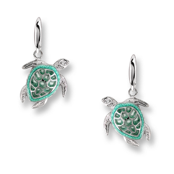 Sterling Silver Sea Turtle Wire Earrings-Green.  Diamonds.