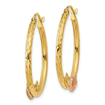 14K & Rose Heart D/C Hoop Earrings