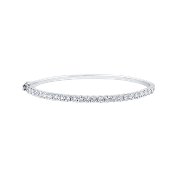 14K White Gold 2.50 ct Round White Diamond Bangle Bracelet