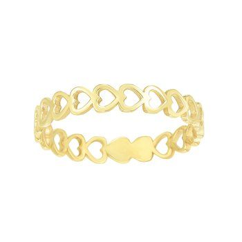 14K Gold Open Heart Stackabe Ring