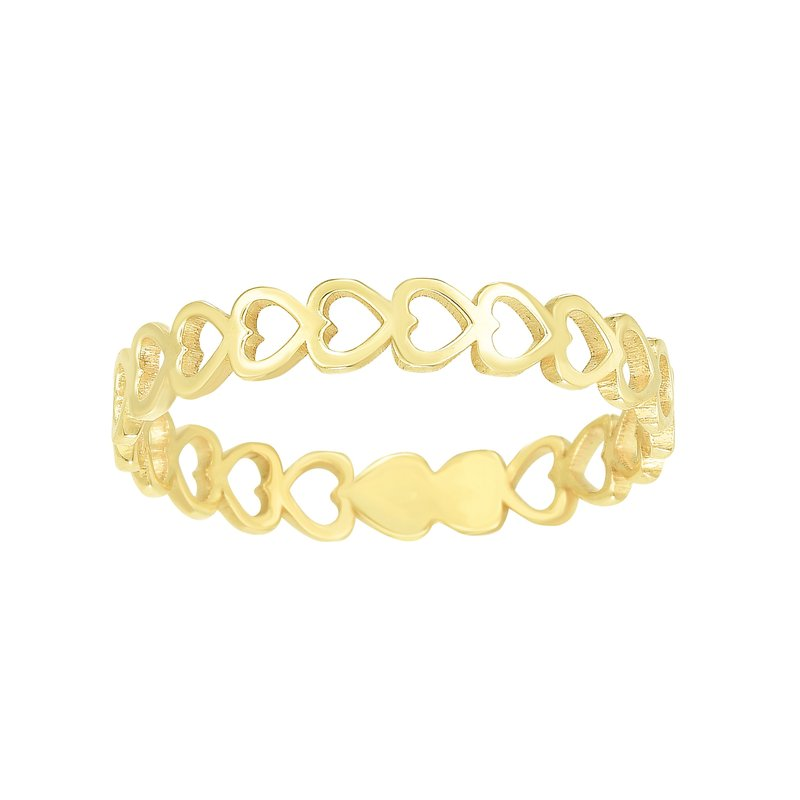 Royal Chain 14K Gold Open Heart Stackabe Ring