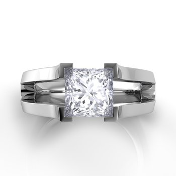 Voltaggio Split Shank Princess-Cut Engagement Ring