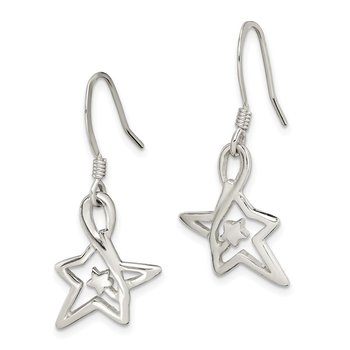 Sterling Silver Polished Diamond-cut Star Dangle Earrings