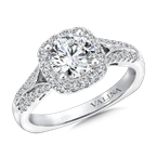 Valina Bridals Cushion shape halo mounting .29 ct. tw., 3/4 ct. round center.