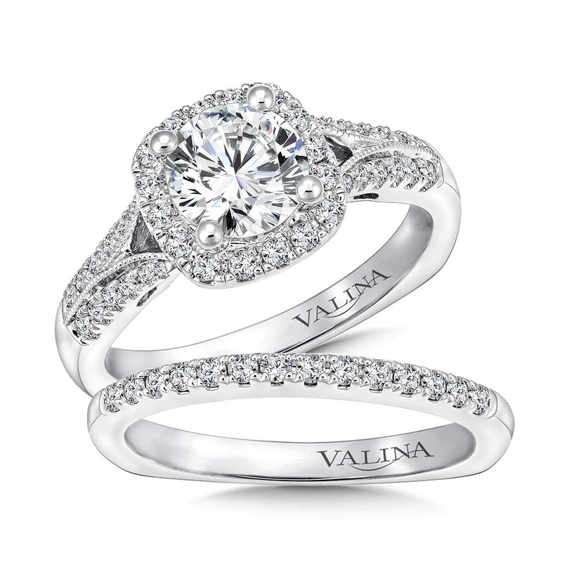 Valina Cushion shape halo mounting .29 ct. tw., 3/4 ct. round center.