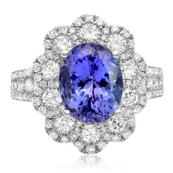 Flowering Tanzanite & Diamond Ring