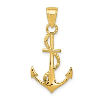 14K Gold Polished Anchor W/Rope Pendant