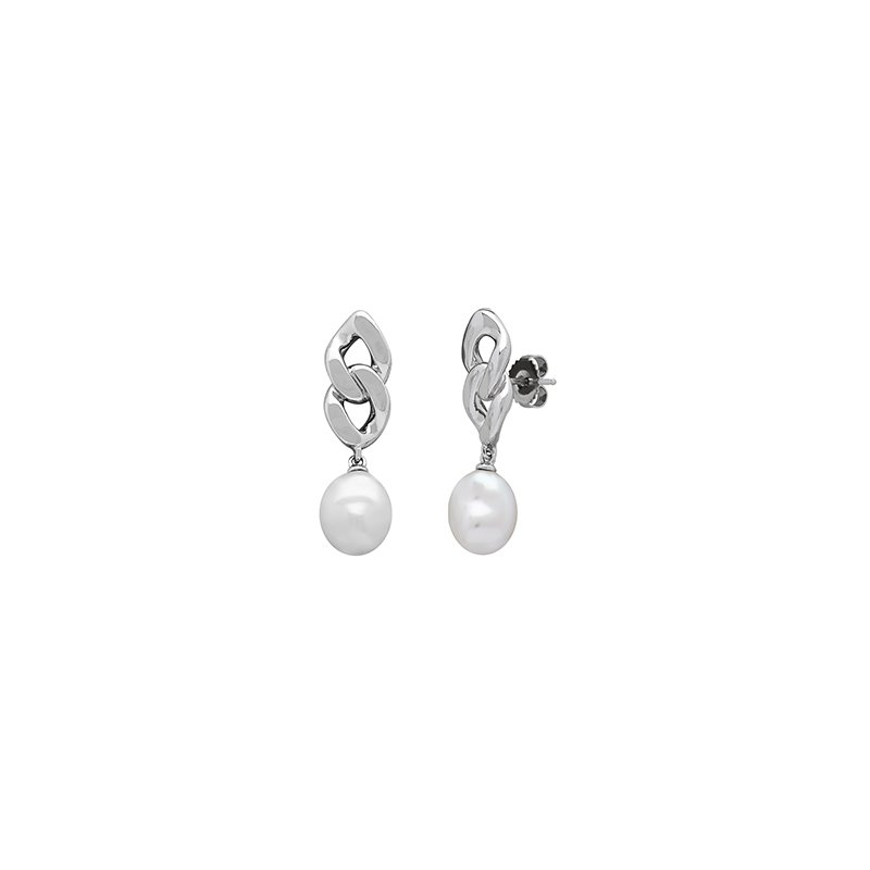 Honora Honora Sterling Silver 10-12mm White Baroque Freshwater Cultured Pearl Chain Link Earring