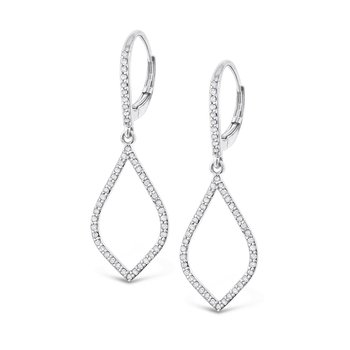 Diamond Leaf Shape Earrings in 14K White Gold with 98 Diamonds Weighing  .48ct tw