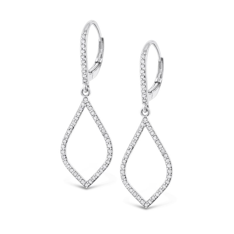 KC Designs Diamond Leaf Shape Earrings in 14K White Gold with 98 Diamonds Weighing  .48ct tw