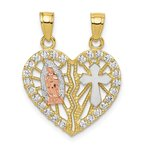 Quality Gold 10k Two-tone CZ Religious Break-apart Heart Pendant