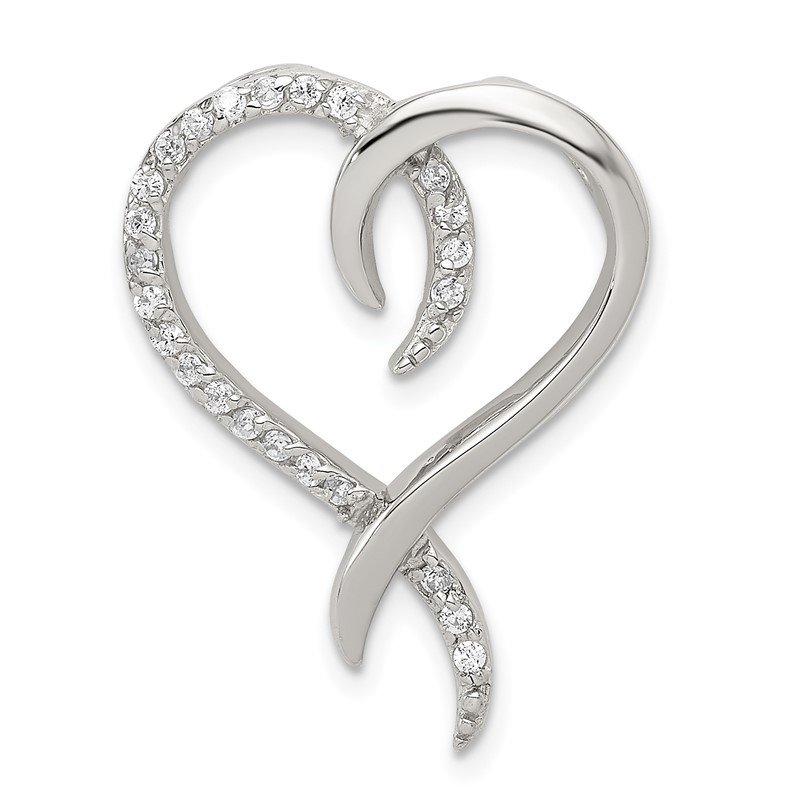 Quality Gold Sterling Silver CZ Heart Chain Slide