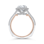 Carizza 14K Two-Tone Gold Round Cut Diamond Double Halo Engagement Ring (Semi-Mount)