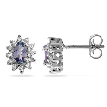 14K WG Diamond & Tanzanite All Purpose Ear-rings