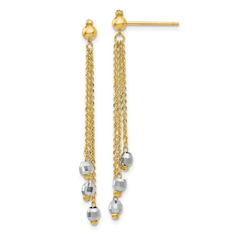 Quality Gold 14K Two-tone Cable Chain Faceted Bead Earrings